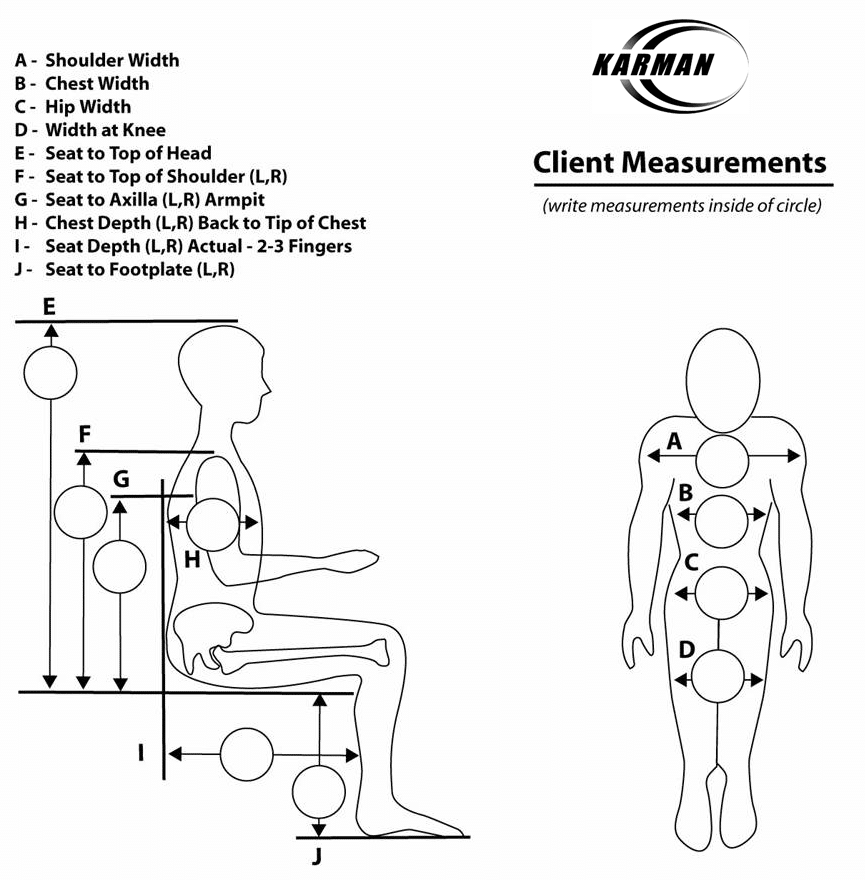 recliner wheelchairs | client measurements