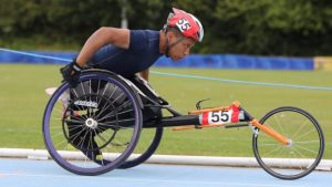 Racing in a wheelchair