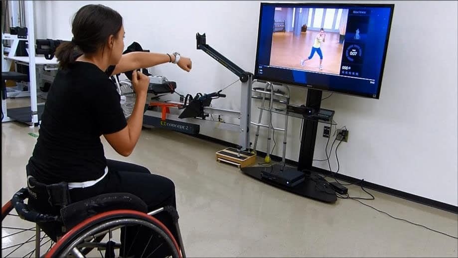 paying video games in a wheelchair