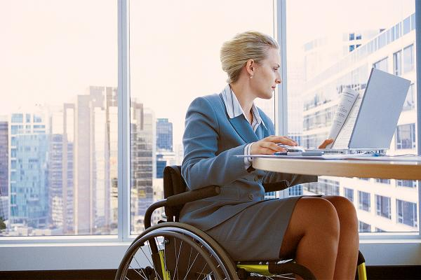working in a wheelchair