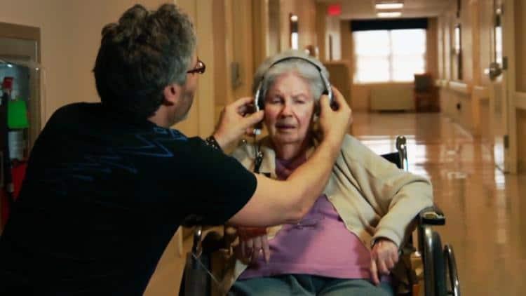 wheelchair user listening to music