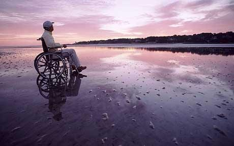 wheelchair in beach